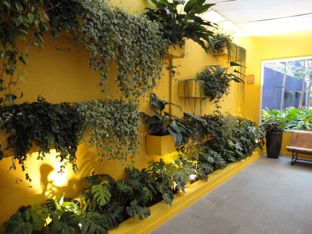 flores baratas jardim:Nesta garagem, o jardim vertical deixa o ambiente mais natural e
