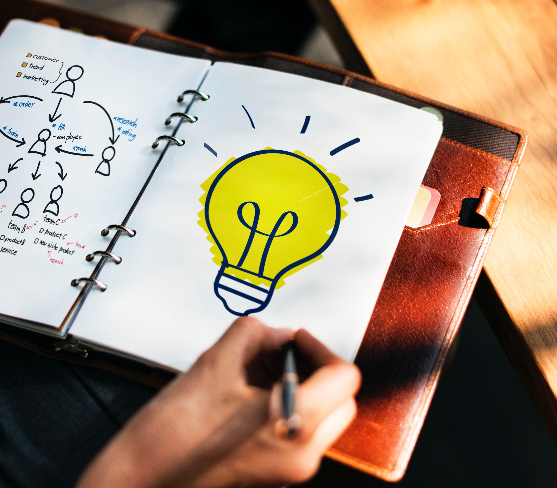 Caderno como lampada desenhada