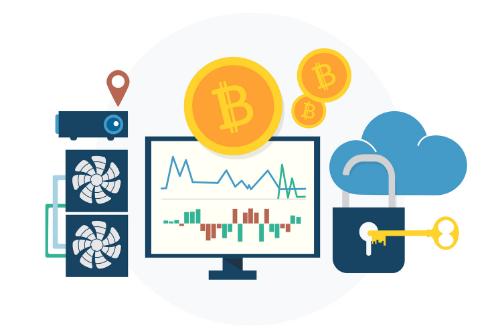 Bitcoin sob a tela de uma computado ao lado de uma chave e cadeado