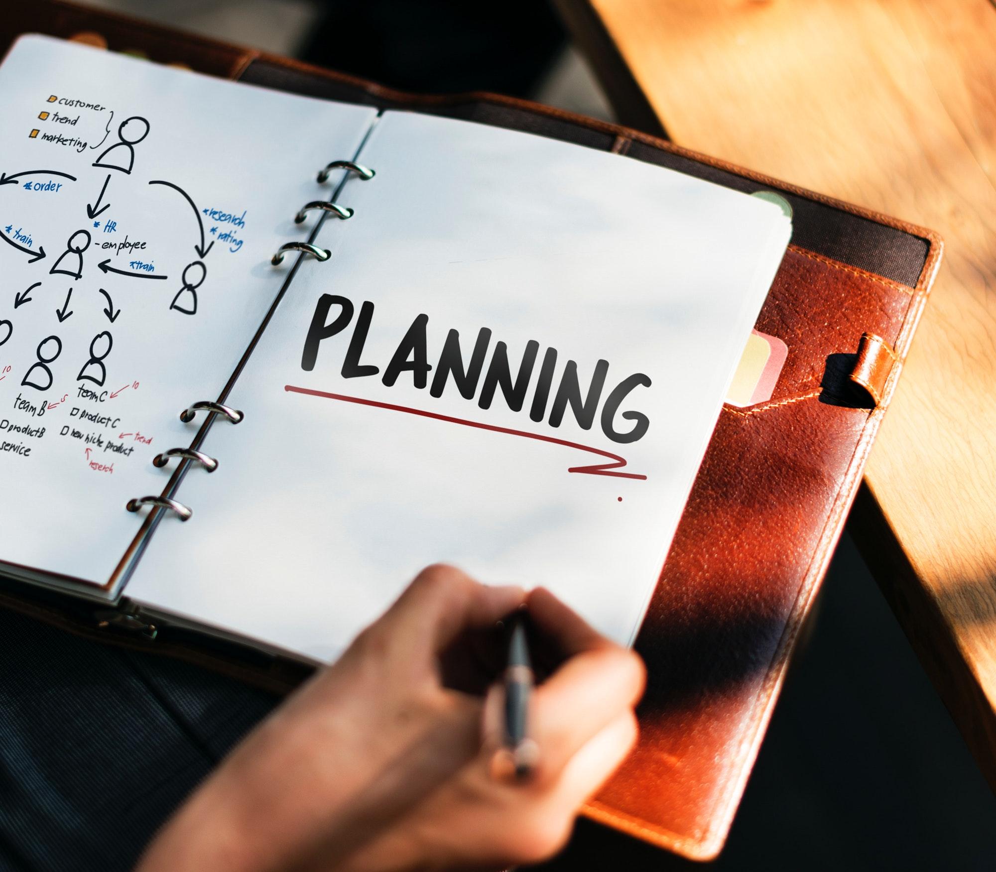 """Agenda com a palavras """"planejamento"""" em inglês"""