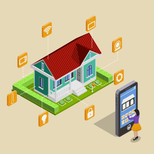 Uma mulher secionando ações em tablete que interferem diretamente na casa