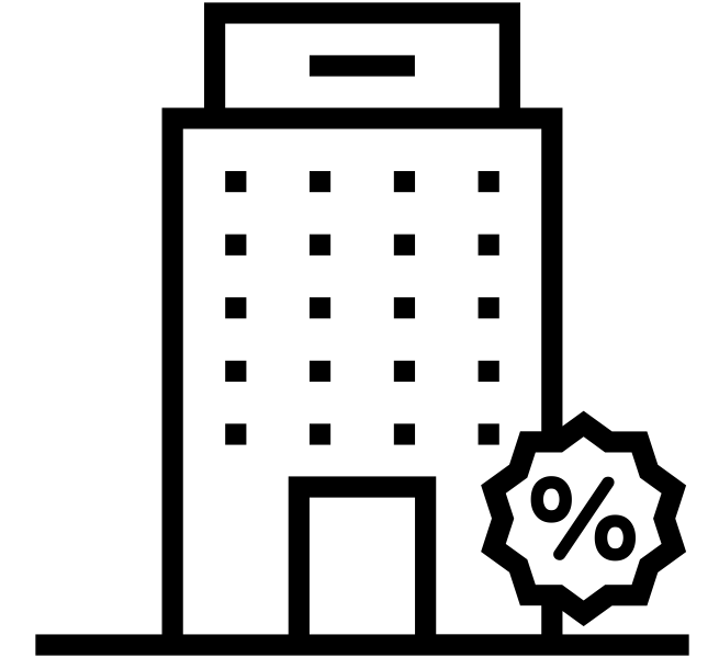 Simbolo prédio de apartamentos com sinal de porcentagem